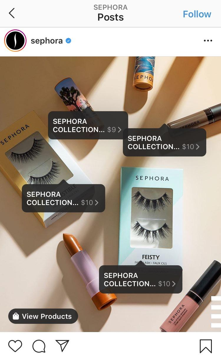 example of a shoppable Instagram post by Sephora