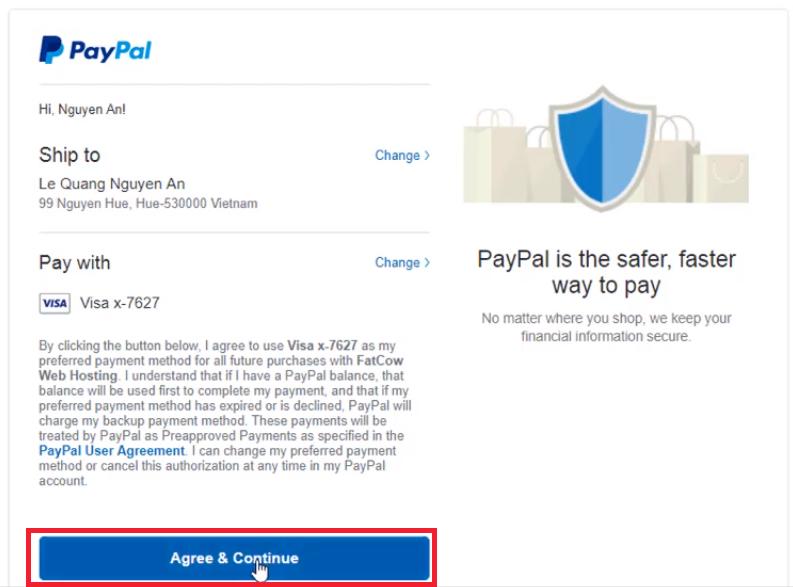 Đăng ký Fatcow Hosting- Thanh toán Paypal- Chấp nhận thanh toán