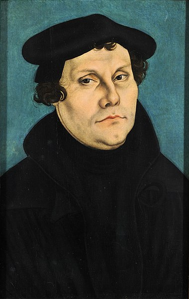 Portrait of Luther, somber in black.