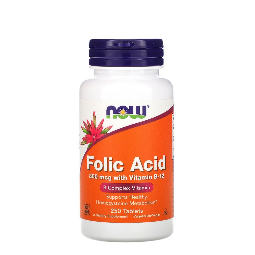 3. Now Foods Folic Acid 800 mcg with Vitamin B-12 Tablets