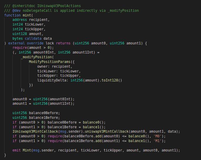 Uniswap v3: code block for mint function