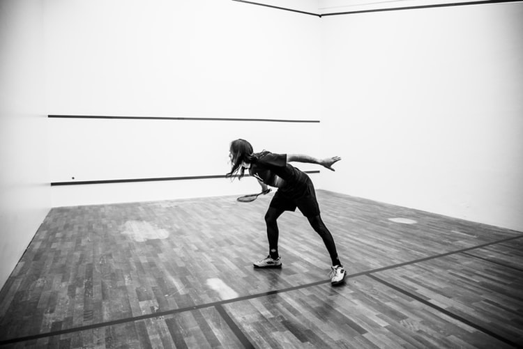 Training in the squash court