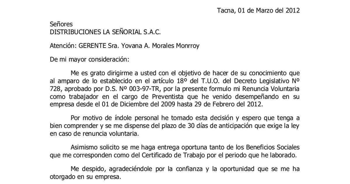 carta de renuncia voluntaria tododocumentos blogspot com doc