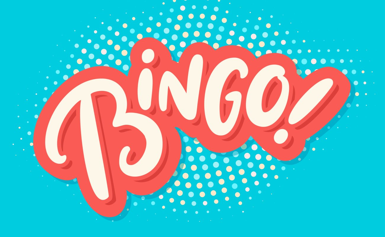 Bingo graphics in dusty pink and bright blue background