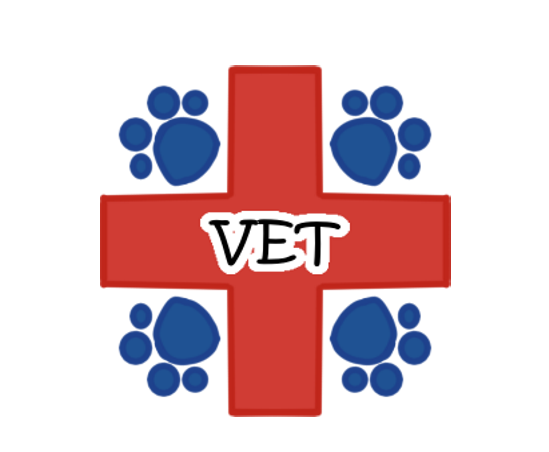 Vet red cross with blue paw prints vet schedule calendar date sticker