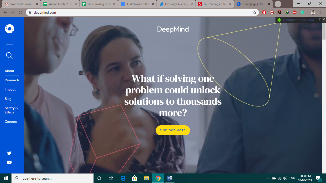"A screenshot of DeppMind's website, where it says ""What if solving one problem could unlock solutions to thousands more?"". In the background there's a team of 3 people."