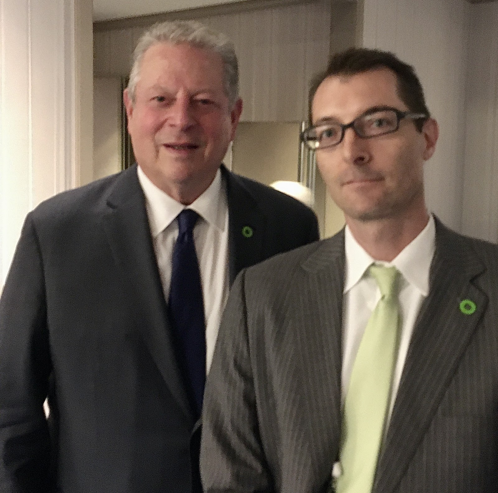 US Vice President Al Gore with Chris Kozak at the Climate Reality Leadership Corps training, October, 2019, Tokyo, Japan.