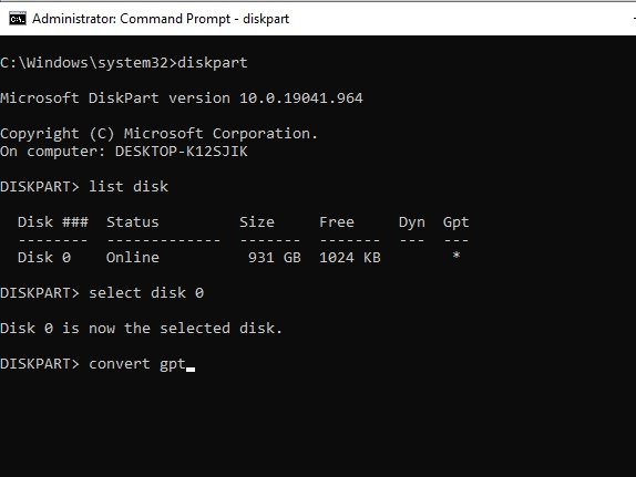 Convert The MBR Disk To GPT with Diskpart