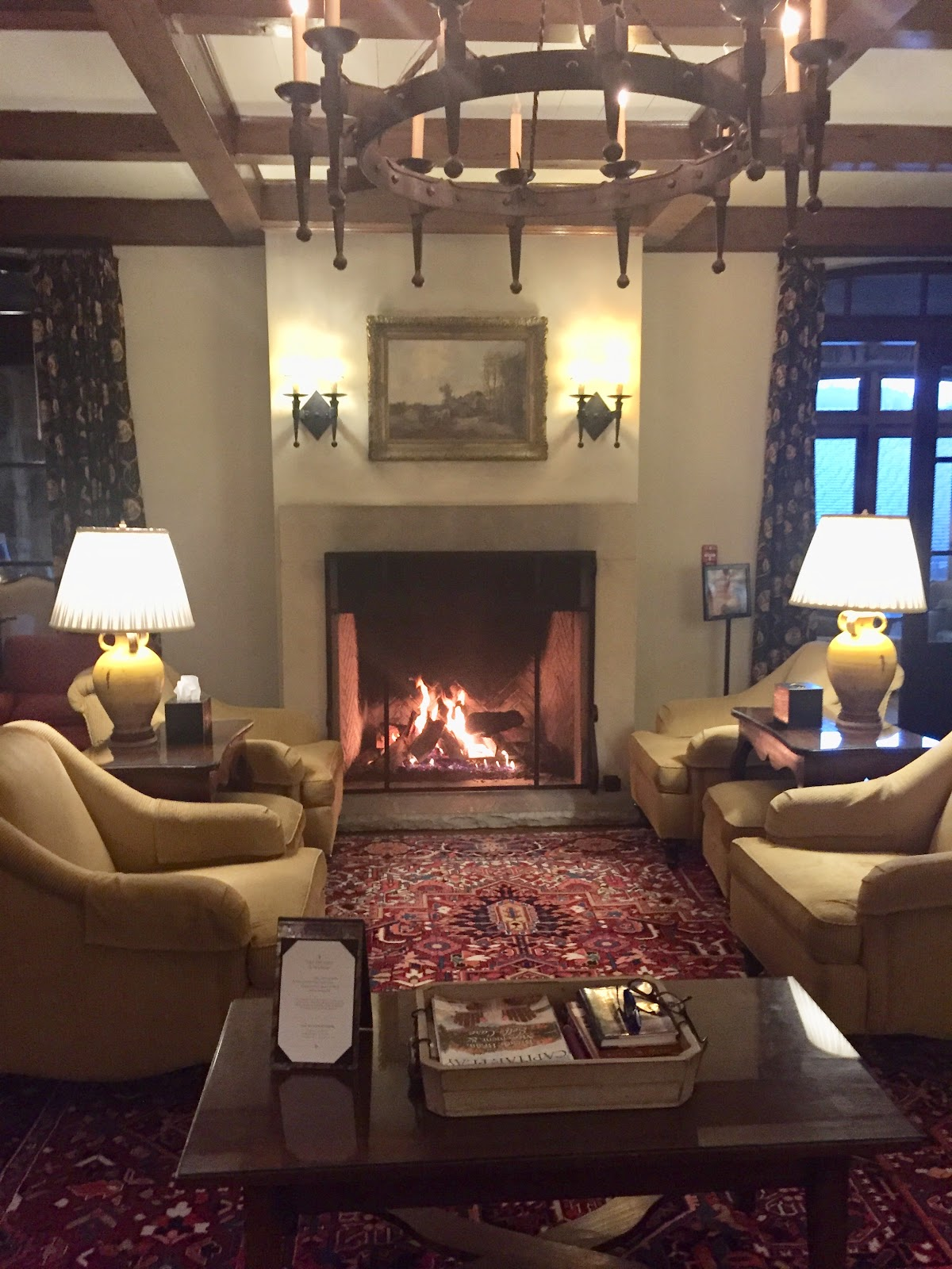 Fireplace Burning In Lobby