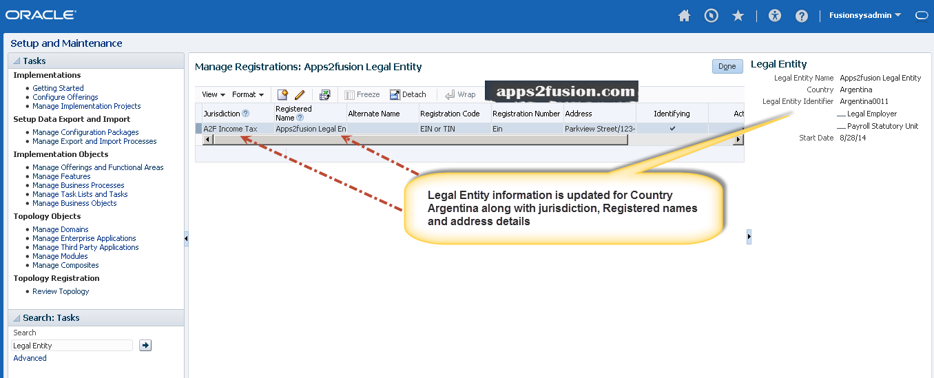 Legal Entities in Oracle Fusion Financials