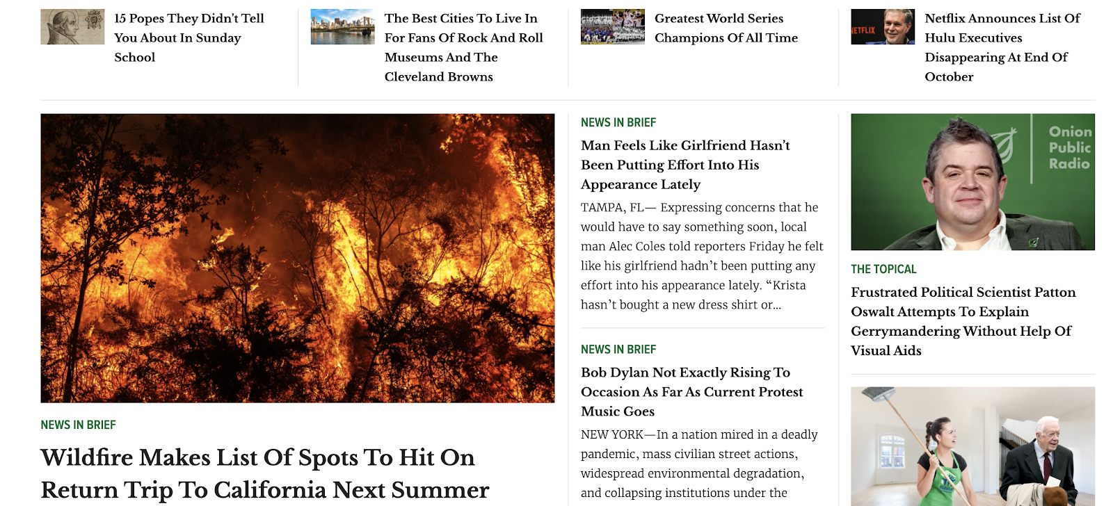 Example of satire - A screenshot of The Onion's homepage with images of wildfires and Patton Oswalt.