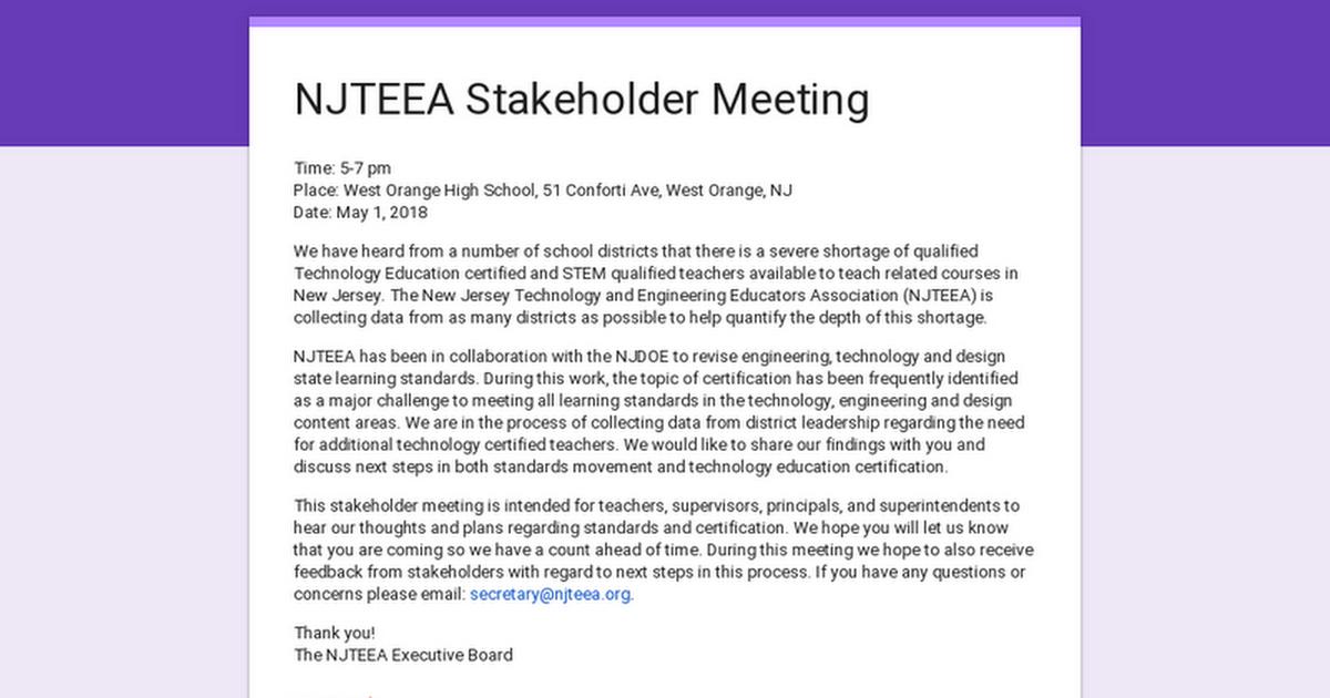 Njteea Stakeholder Meeting