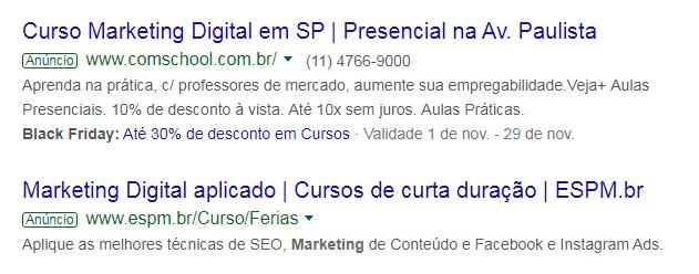Pesquisa sobre curso de Marketing Digital