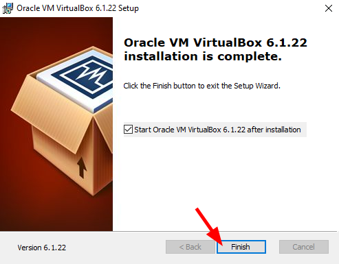 Virtual Hacking Lab - VirtualBox installation finish. Source: nudesystems.com