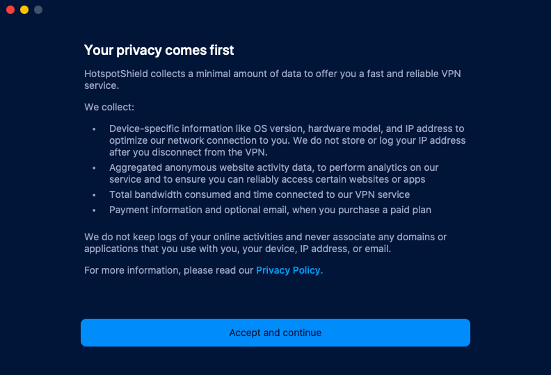 Hotspot privacy policy