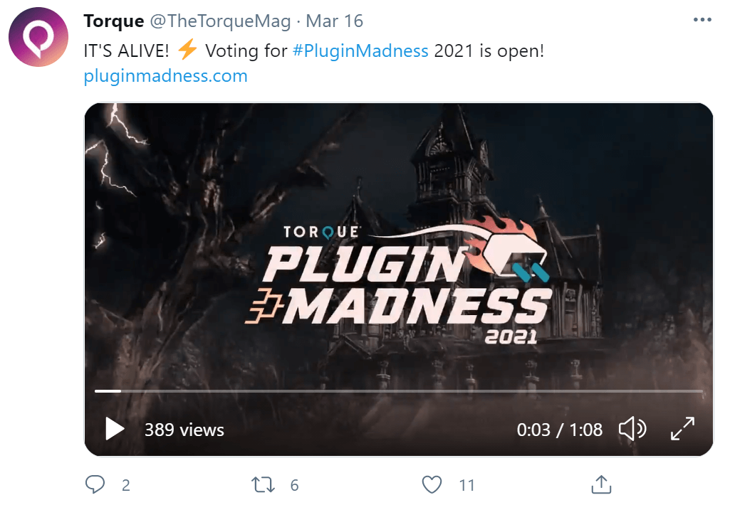 A Torque Twitter post advertising a video that is also available on the YouTube account.