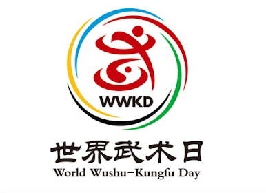 """The logo centers on the character """"Wu"""", a character constructed from the combination of the Taiji trigram and wushu movements. A wushu practitioner stands atop the Taiji trigram. The tough lines of the """"Wu"""" character highlight both the rigid and soft characteristics of wushu movements. Meanwhile, the five arcs forming a the ring around the figure embody the idea that wushu enthusiasts from five continents form one big family."""