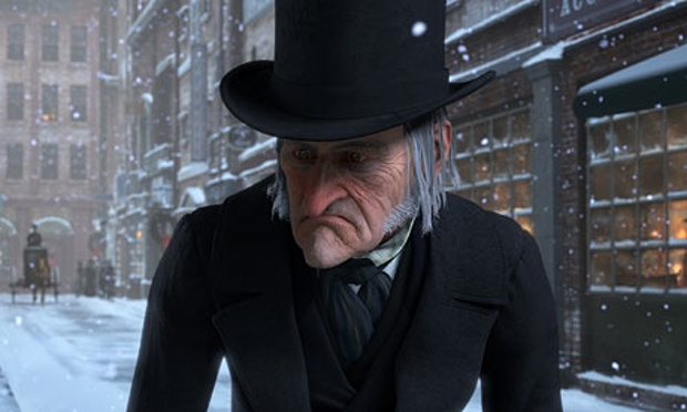 Scrooge arrives at his office on Christmas Eve