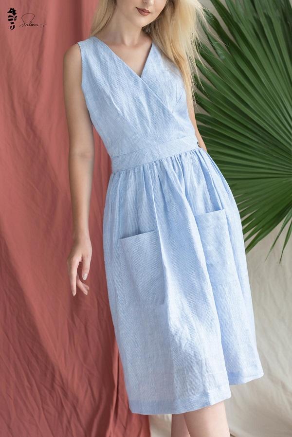 Váy sơ mi - váy liền vải đũi