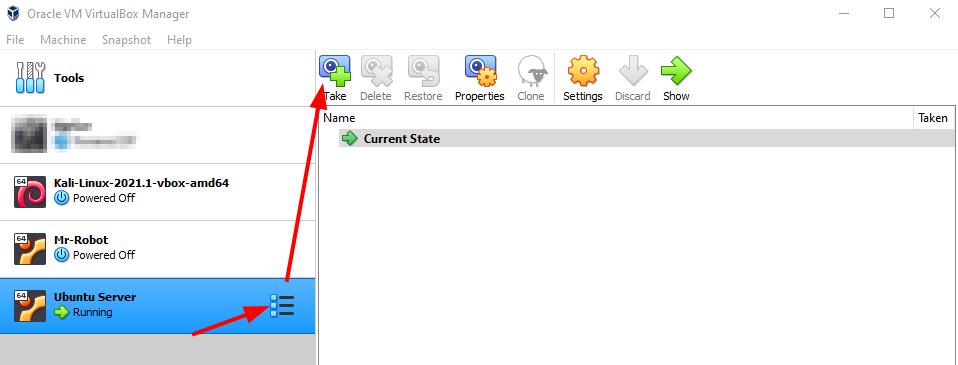 Virtual Hacking Lab - Ubuntu Server Snapshot. Source: nudesystems.com