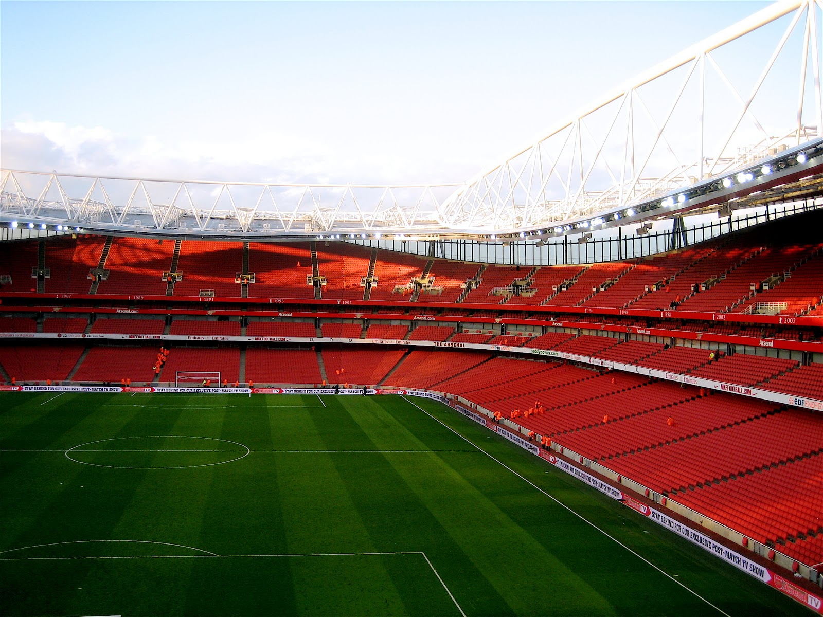 An empty Emirates football stadium