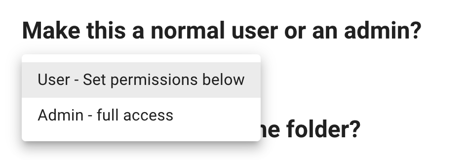 Options to create a normal or admin user for your SFTP site.