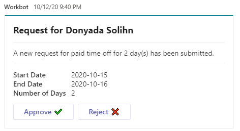 A message in Microsoft Teams that asks a manager to review and approve (or reject) a PTO request