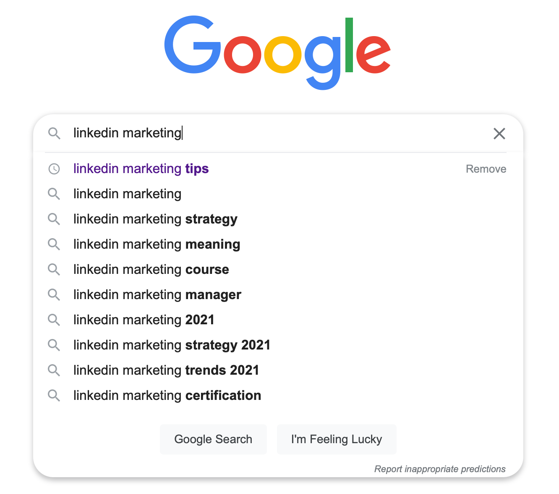 google autocomplete search fresh content ideas