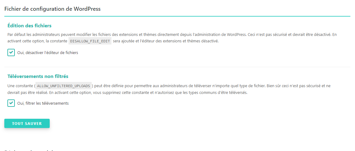 Fichier de configuration de WordPress SecuPress
