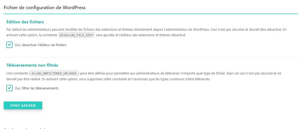 Fichier de configuration de WordPress SecuPress