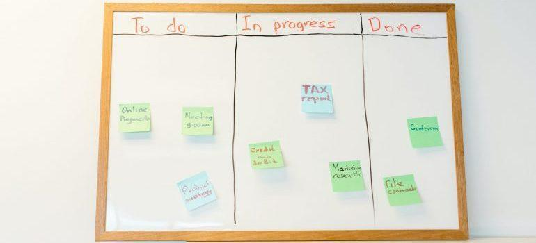 A to do list - great help when moving your home-based business to an office space