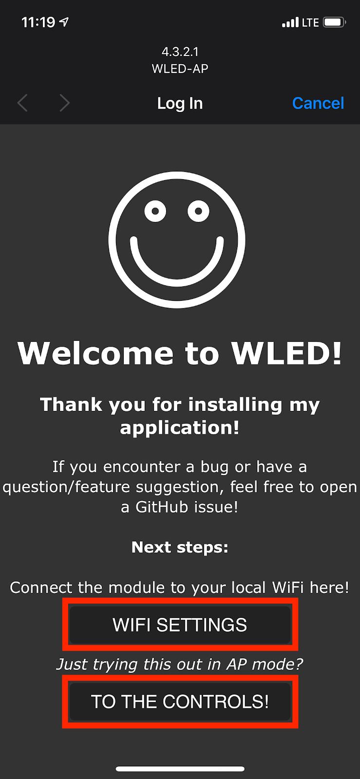 WLED captive portal