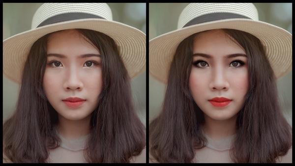 Montagem com 2 fotos da mesma mulher mostrando o antes e depois da edição da maquiagem Smokey do AirBrush