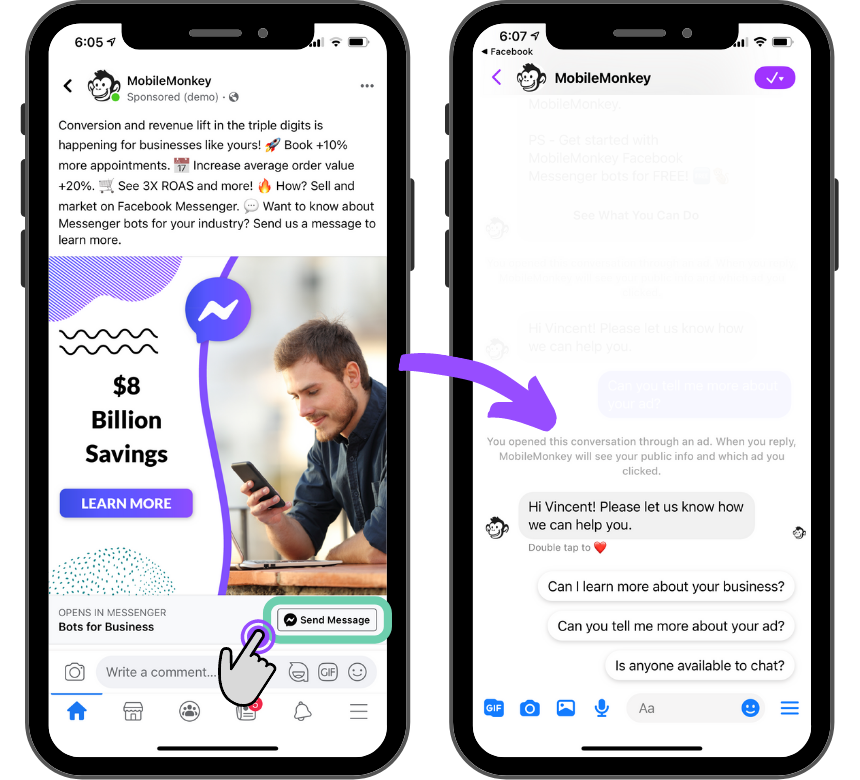 click to Messenger ad example