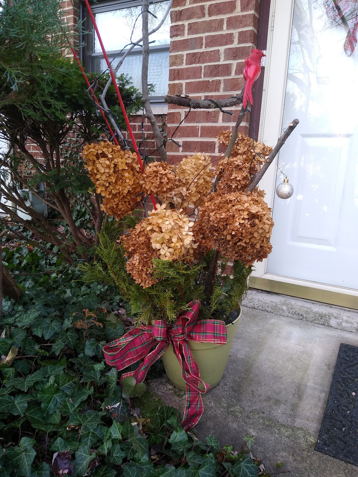 homemade Christmas porch pot