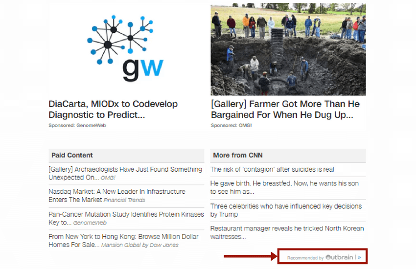 """Content recommendations (also known as discovery ads) are very often located at the bottom of a website or under the video. It is accompanied by such markers as """"recommended for you"""", """"see more"""", """"you also might like"""" redirecting users to promotional materials. Content recommendations match the subject of the site and correspond to the interest of a particular user. Ad is placed in content recommendation widgets that target specific users considering their age, gender, geo, language, interests, etc. It's used by large companies like Spotify and Amazon."""