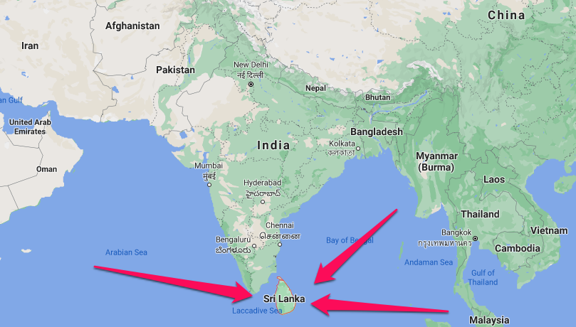 Map with red arrows pointing to Sri Lanka