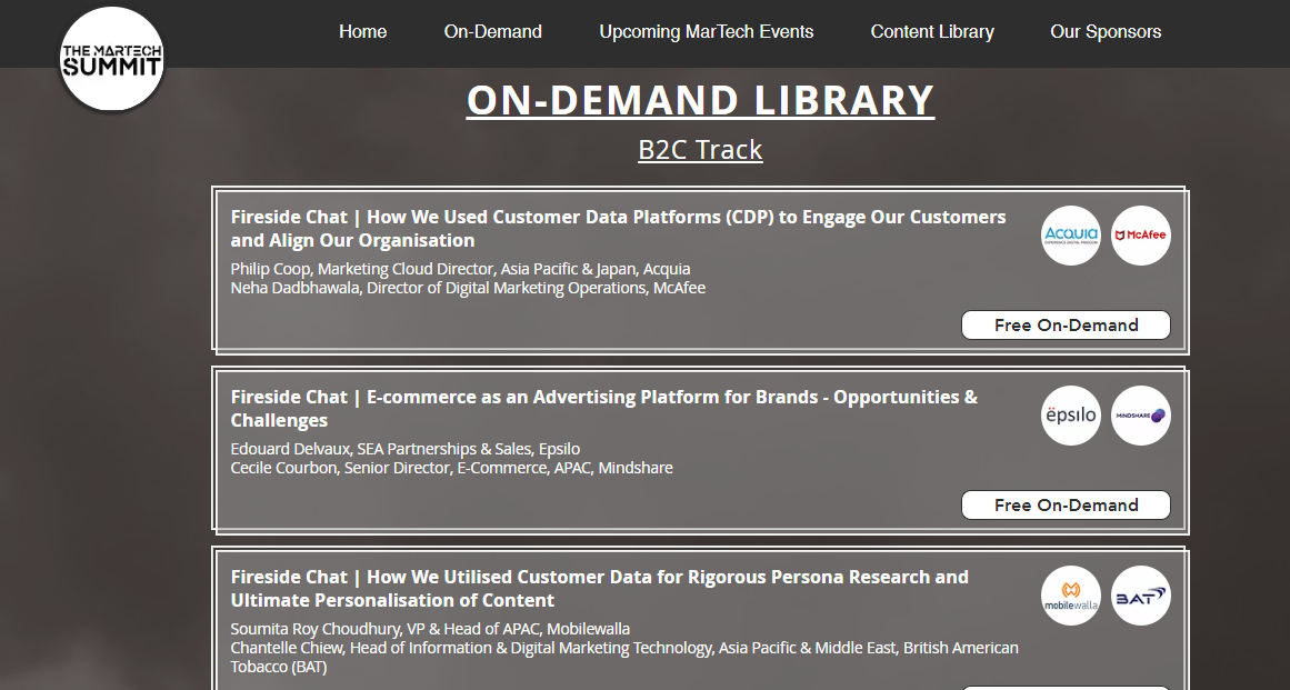 A library of on-demand online summit content.