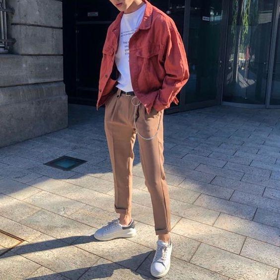 Áo sơ mi nam vải thô Oversize khoác ngoài thật phong cách