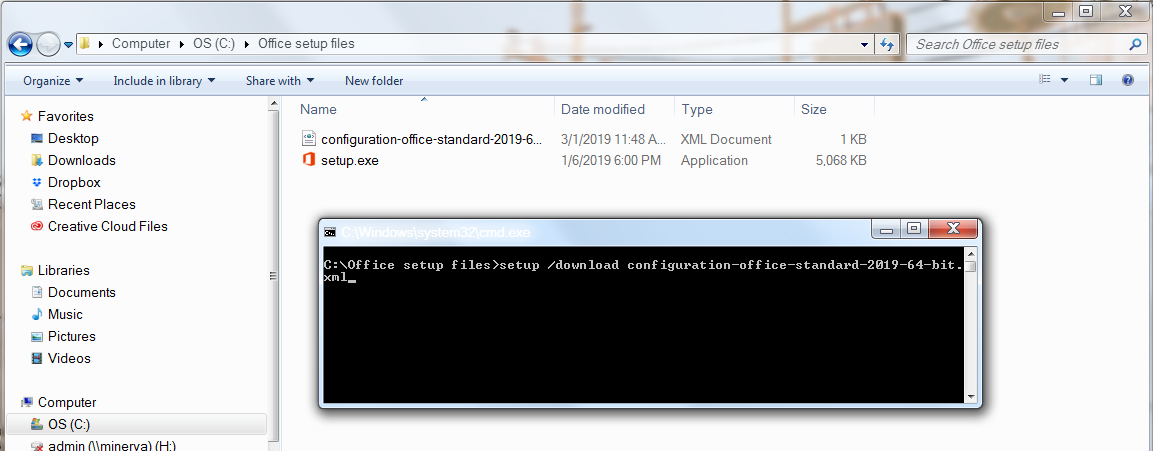Type the configuration file information into the Command Prompt
