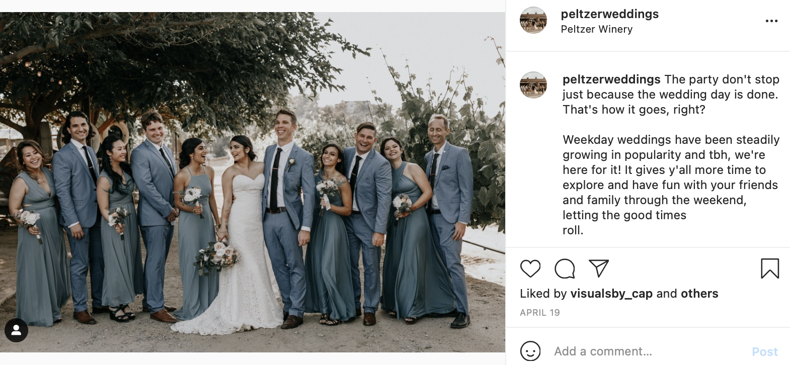 small wedding party dressed in slate blue