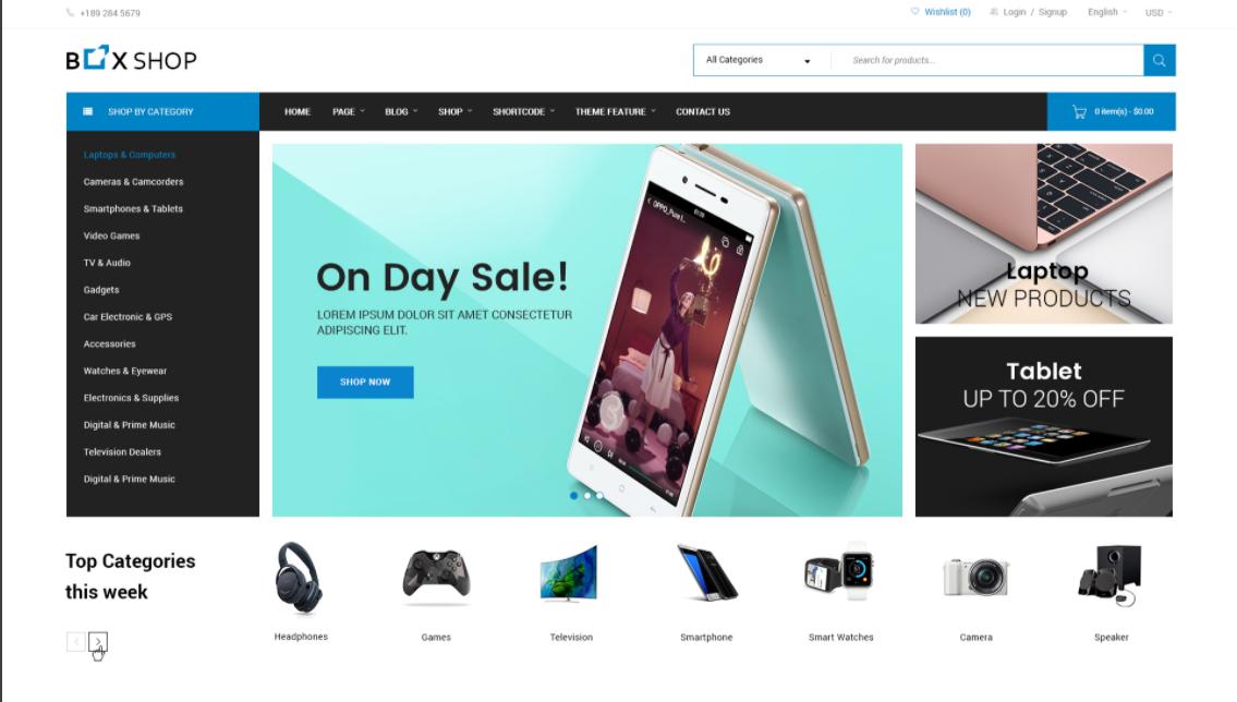 Wordpress ecommerce theme BoxShop