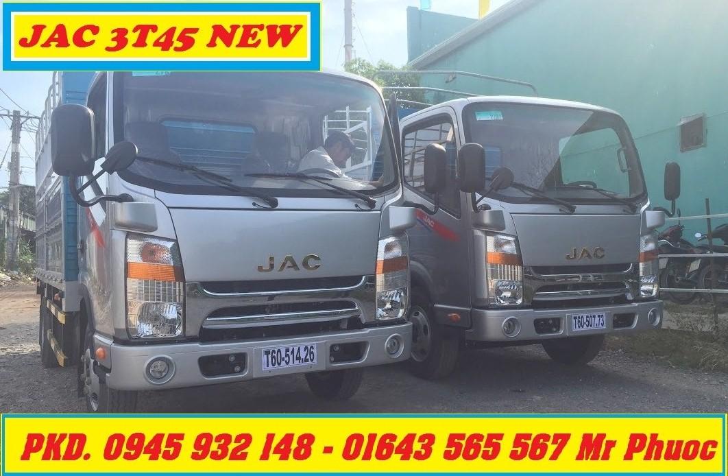 Xe tải JAC 3.45 tấn thùng mui bạt, Xe tải JAC HFC1042K2 3T45 đầu vuông, xe JAC 3.5 tấn thùng mui bạt