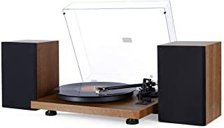 1 BY ONE Adjustable Counterweight Record Players & Turntable Hi-Fi System with 36 Watt Bookshelf Speakers, Natural Wood