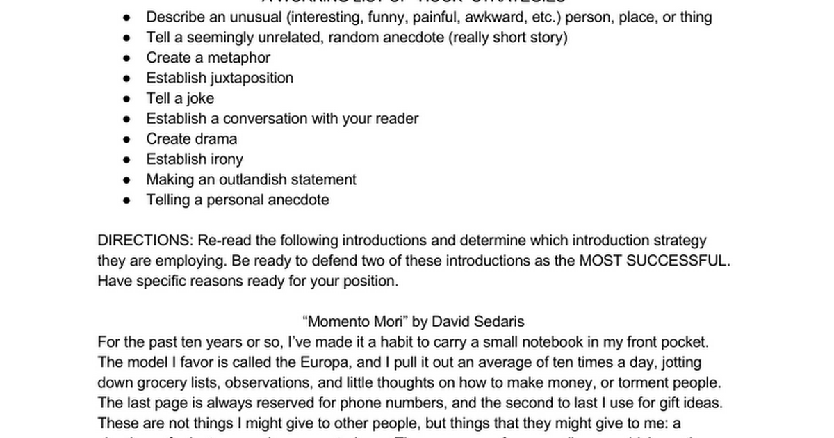 examples of dramatic introduction in essay English composition 1 introductions experiment with more than one type of introduction for the same essay as the examples above illustrate.