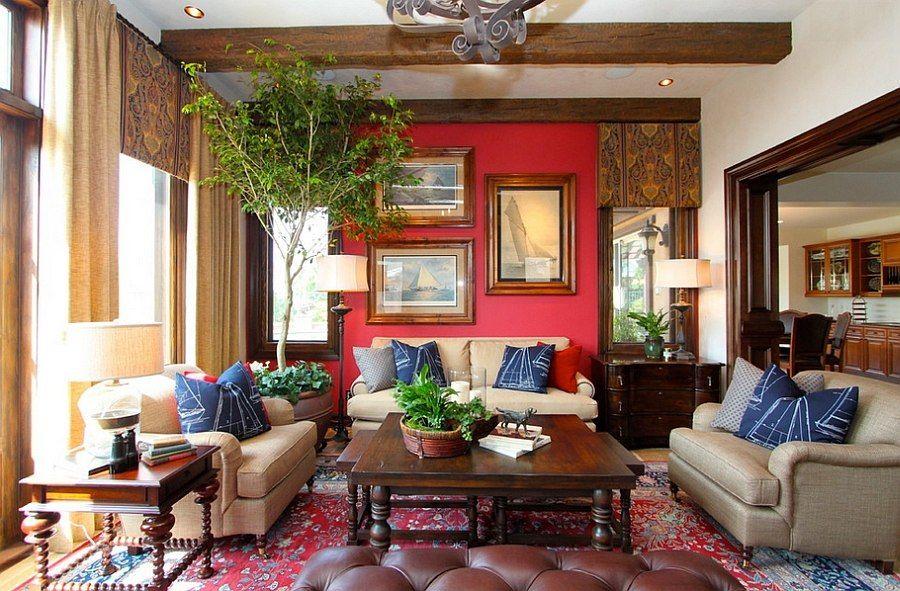 Rèm cửa với họa tiết đẹp, vải mỏng là đặc trưng của phong cách boho trong kiến trúc nội thất