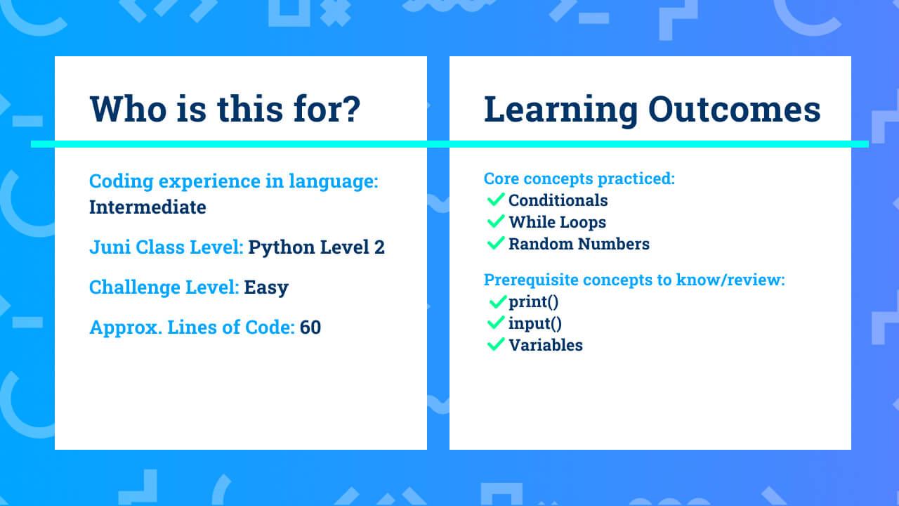 The learning outcomes for intermediate Python coding project Rock Paper Scissors.