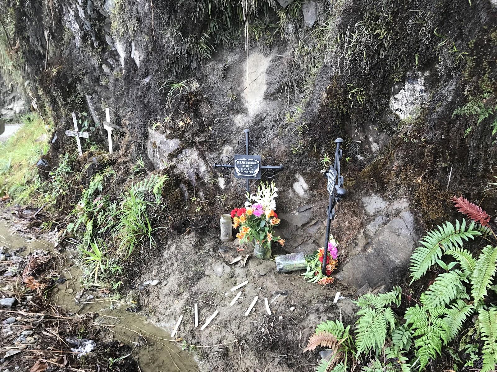 Memorial shrines on Death Road