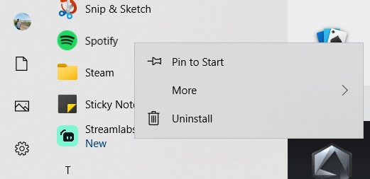 Uninstall option in the Spotify context menu