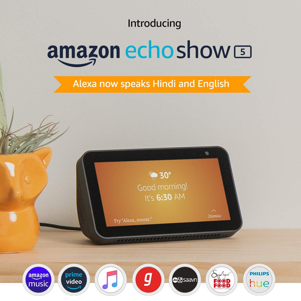 echo show 5 compact smart display with Alexa charcoal